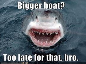 Bigger boat?  Too late for that, bro.