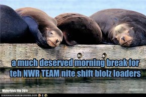 a much deserved morning break for  teh NWR TEAM nite shift blolz loaders