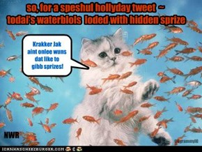 so, for a speshul hollyday tweet  ~  todai's waterblols  loded with hidden sprize