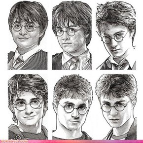 The Harry Potter Stipple Portrait Aging Timeline