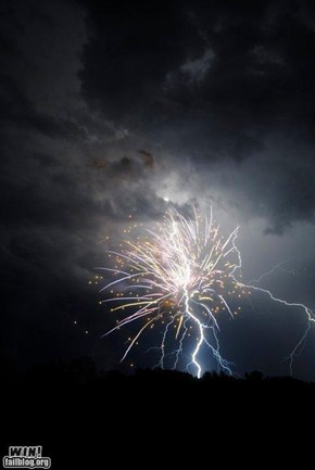 Mother Nature FTW: Lightning Hitting Fireworks