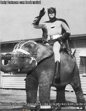 Only Batman can look weird By sitting on an elephant But he is the only superhero who actually has balls to do it