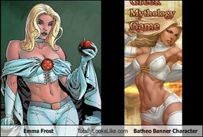 Emma Frost Totally Looks Like Batheo Banner Character