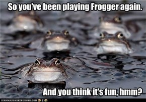 So you've been playing Frogger again.        And you think it's fun, hmm?
