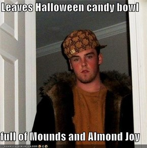 Leaves Halloween candy bowl  full of Mounds and Almond Joy