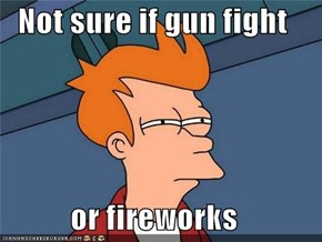 Not sure if gun fight  or fireworks