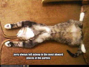 jerry always fell asleep in the most akward places at the parties