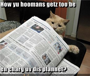 How yu hoomans getz too be  en charg uv dis plannet?