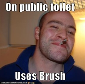 On public toilet  Uses Brush