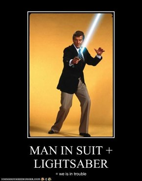 MAN IN SUIT + LIGHTSABER