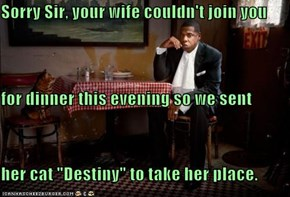 "Sorry Sir, your wife couldn't join you for dinner this evening so we sent her cat ""Destiny"" to take her place."