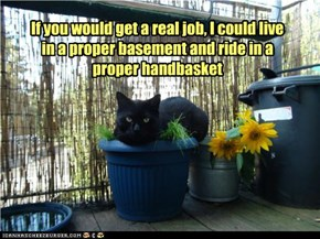 If you would get a real job, I could live in a proper basement and ride in a proper handbasket