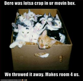 Dere was lotsa crap in ur movin box.  We throwed it away. Makes room 4 us.