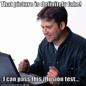 That picture is definitely fake!  I can pass this illusion test...