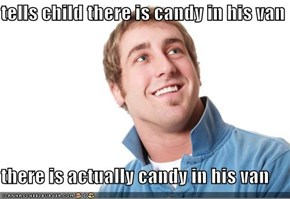 tells child there is candy in his van  there is actually candy in his van