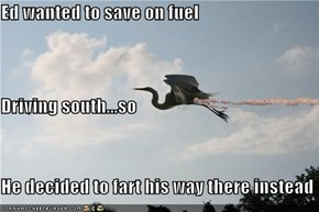 Ed wanted to save on fuel Driving south...so He decided to fart his way there instead