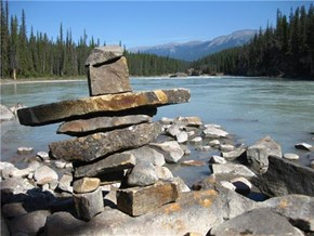 An Inukshuk in Jasper National Park, Alberta, Canada