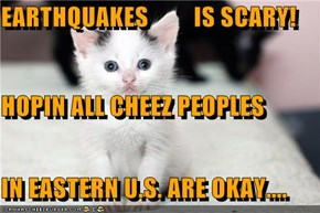 EARTHQUAKES         IS SCARY! HOPIN ALL CHEEZ PEOPLES IN EASTERN U.S. ARE OKAY....