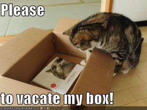 Please  to vacate my box!