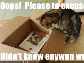 Oops!  Please to excuse meh!  Didn't know enywun wuz already in mai box!