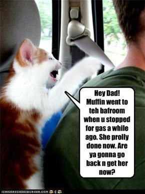 Hey Dad!  Muffin went to teh bafroom when u stopped for gas a while ago. She prolly done now. Are ya gonna go back n get her now?