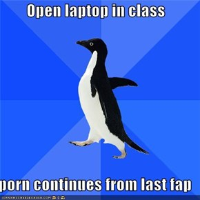 Socially Awkward Penguin Continues Fapping in Class