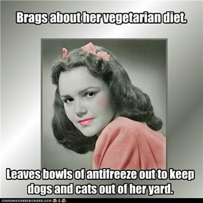 Brags about her vegetarian diet.