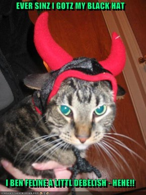 EVER SINZ I GOTZ MY BLACK HAT  I BEN FELINE A LITTL DEBELISH - HEHE!!
