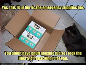 Yes, this IS ur hurricane emergency supplies box.You dinnit have enuff gooshie fud so I took the liberty of repacking it for you.