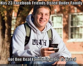 Has 23 Facebook Friends Listed Under Family           Not One Real Family Member Is Listed