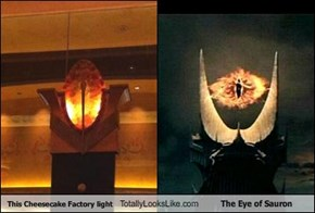 This Cheesecake Factory light Totally Looks Like The Eye of Sauron