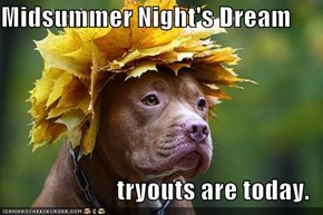 Midsummer Night's Dream  tryouts are today.