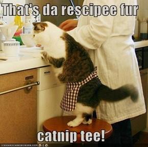 That's da rescipee fur   catnip tee!