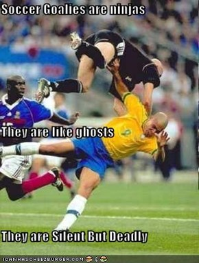 Soccer Goalies are ninjas  They are like ghosts  They are Silent But Deadly