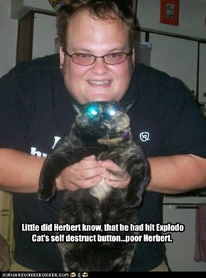 Little did Herbert know, that he had hit Explodo Cat's self destruct button...poor Herbert.