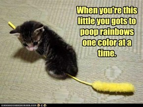 When you're this little you gots to poop rainbows one color at a time.