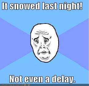 It snowed last night!  Not even a delay.