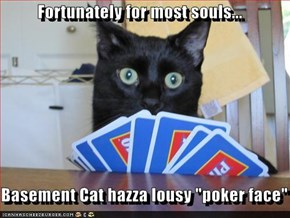 "Fortunately for most souls...  Basement Cat hazza lousy ""poker face"""