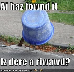 Ai haz fownd it  Iz dere a riwawd?