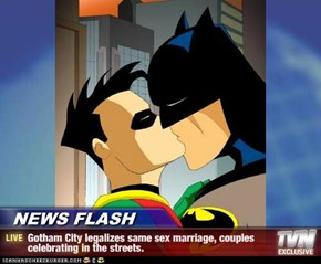NEWS FLASH - Gotham City legalizes same sex marriage, couples celebrating in the streets.