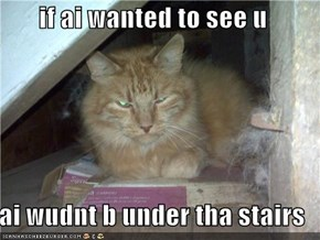 if ai wanted to see u  ai wudnt b under tha stairs