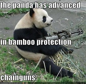 the panda has advanced in bamboo protection chainguns.
