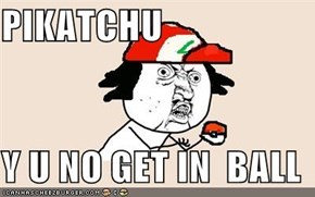 PIKATCHU  Y U NO GET IN  BALL