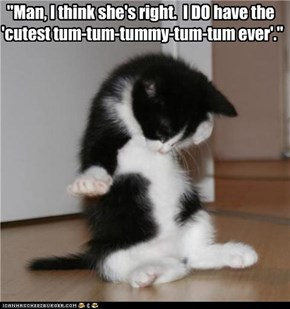 """Man, I think she's right.  I DO have the 'cutest tum-tum-tummy-tum-tum ever'."""