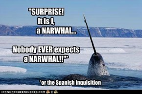 """SURPRISE!   It is I,                a NARWHAL...  Nobody EVER expects  a NARWHAL!!""*"