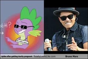 Spike after getting Rarity pregnant Totally Looks Like Bruno Mars