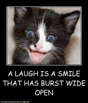 A LAUGH IS A SMILE THAT HAS BURST WIDE OPEN