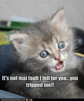 It's not mai fault I fell for you...you tripped me!!