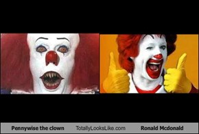 Pennywise the clown Totally Looks Like Ronald Mcdonald