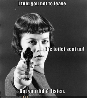 I told you not to leave  the toilet seat up!  But you didn't listen.